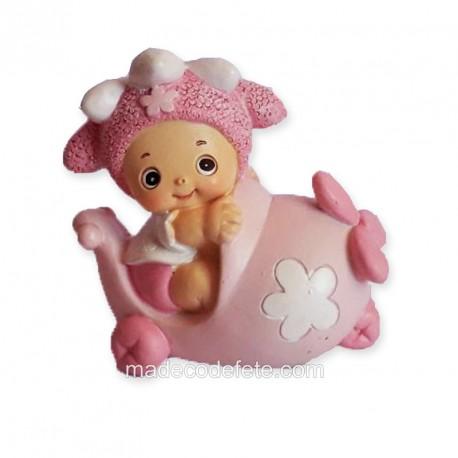 Figurine bébé avion rose