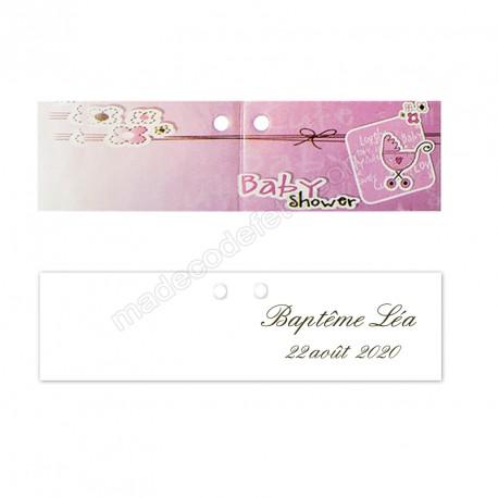 10 étiquettes baby shower rose