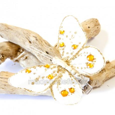 Papillons déco blanc/or (lot de 4)