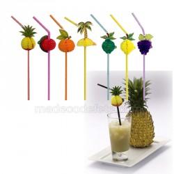Pailles cocktails exotiques (lot de 10)