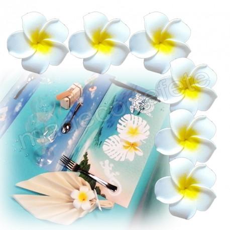 6 fleurs tiaré blanches adhésives