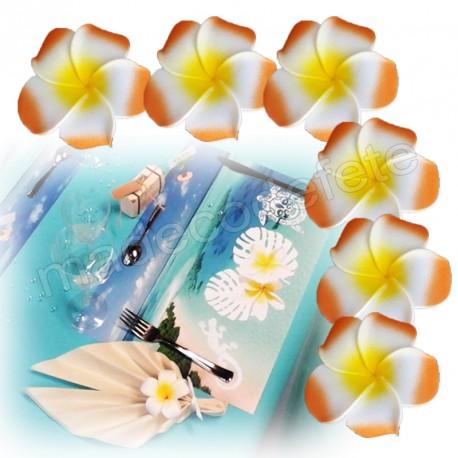 6 fleurs tiaré orange adhésives