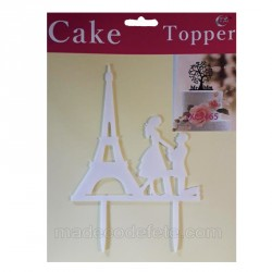 Figurine cake tour eiffel blanche