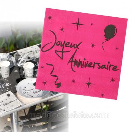 20 serviettes anniversaire fuchsia