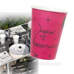 10 gobelets anniversaires fuchsia