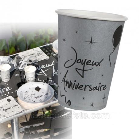 10 gobelets anniversaires gris