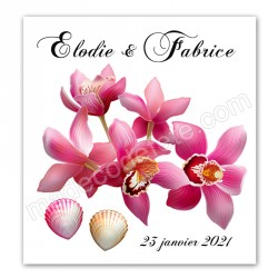 Faire-part orchidées coquillages