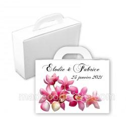 Valise dragées coquillages et orchidées