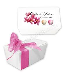 Ballotin dragées orchidées rose