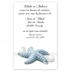 Invitation repas étoile mer bleue