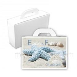 Valise dragées étoile mer bleue