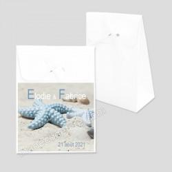 Pochon dragées étoile mer bleue