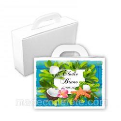 Valise dragées cadre tropical madras bleu