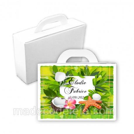 Valise dragées tropicale madras vert