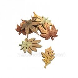 Feuilles d'automne bois x 8