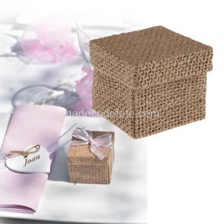 Boîte carrée jute à dragées