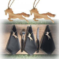 Porte-noms bois cheval x 6