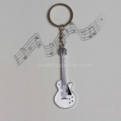 Porte-clé musique guitare blanche