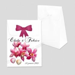 Pochon dragées orchidées coquillages personnalisé