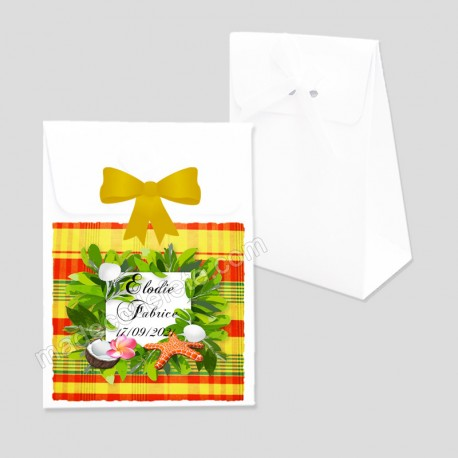 Pochon dragées exotique madras jaune option ruban