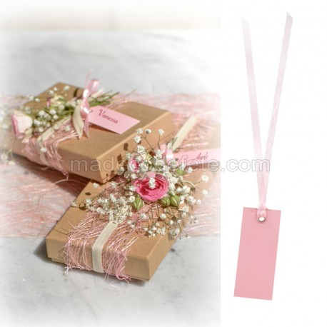 12 porte-nom ruban rose