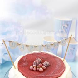 Figurine top cake baptême bleu