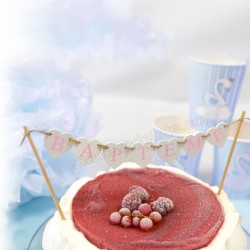 Banderole top cake baptême rose