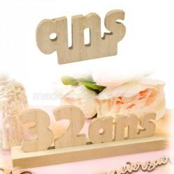 """Lettres """"ans"""" bois anniversaire"""