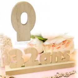 """Chiffre """"0"""" bois anniversaire"""