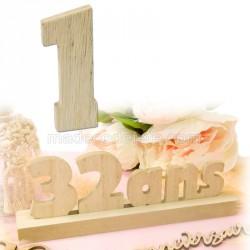 """Chiffre """"1"""" bois anniversaire"""