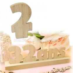 """Chiffre """"2"""" bois anniversaire"""