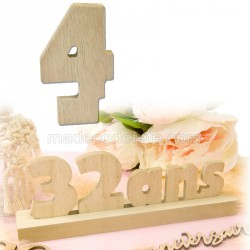 """Chiffre """"4"""" bois anniversaire"""