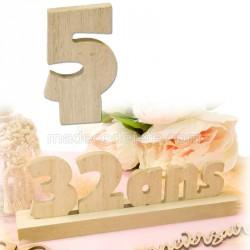 """Chiffre """"5"""" bois anniversaire"""