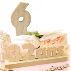 """Chiffre """"6"""" bois anniversaire"""