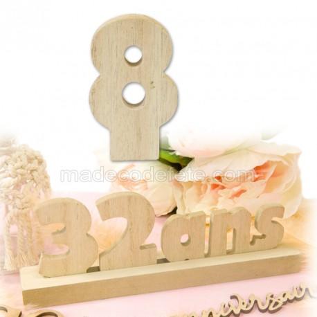 """Chiffre """"8"""" bois anniversaire"""
