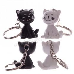 Chat noir porte-nom/porte-clé