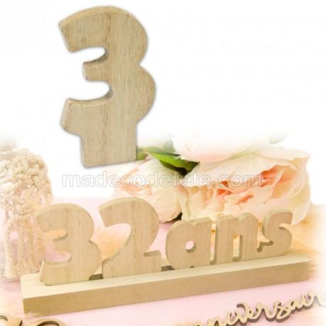 """Chiffre """"3"""" bois anniversaire"""
