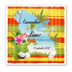 Faire-part invitation Martinique madras jaune