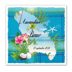 Faire-part invitation Martinique madras bleu