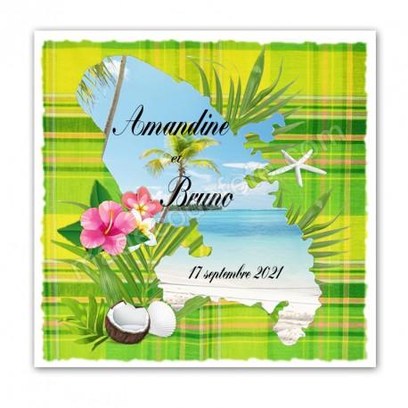 Faire-part invitation Martinique madras vert anis
