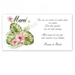 Remerciement bouquet exotique