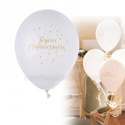 Ballons anniversaire or (lot de 8)