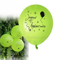 Ballons anniversaire vert(lot de 8)