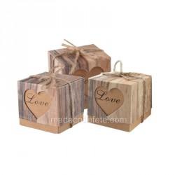 Boîte à dragées coeur love kraft