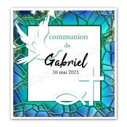 Faire-part communion bleu