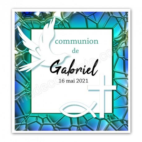 Faire-part communion bleu