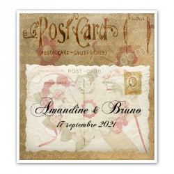 Faire-part rétro postcard
