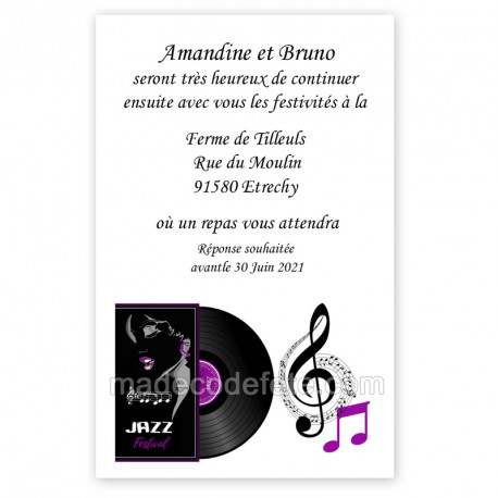 Invitation repas musique jazz