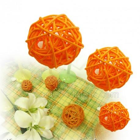 10 boules rotin décos orange