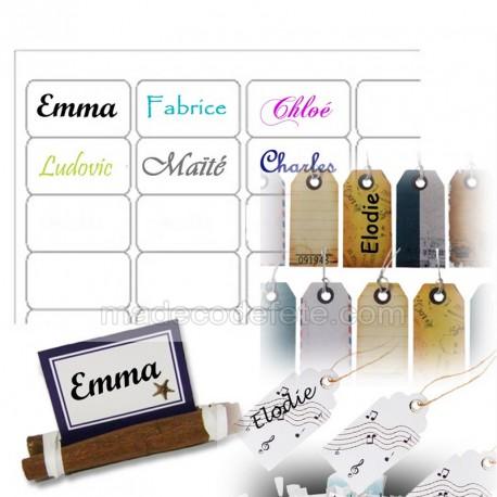 30 étiquettes transparentes porte-nom
